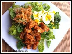 Little b's healthy habits: Clean Buffalo Chicken Salad - recipe for Frank's Red Hot Sauce included!