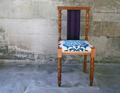 Vintage Stall With Beautiful Carved Legs And Back Details. Upholstered With  Flocked Linen In Petrol