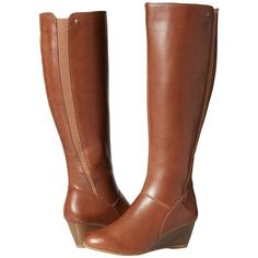 Hush Puppies Pynical Rhea (Tan WP Leather) Women's Pull-on Boots ($140) ❤ liked on Polyvore featuring shoes, boots, knee-high boots, tan leather boots, wedge heel boots, faux-fur boots, waterproof boots and waterproof leather boots
