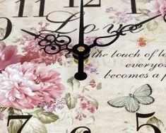 Prepracované vintage nástenné hodiny s kvetinami Clock, Wall, Decor, Watch, Decoration, Clocks, Walls, Decorating, Deco