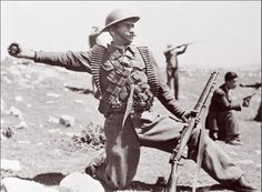 a soldier in the Transjordanian Arab Legion,  equipped with a British-made helmet and rifle, assaults an Israeli position  near Hebron. Transjordan, a creation of the British Mandate that governed the  region following World War I, seized the West Bank, and Egypt emerged in  control of the Gaza Strip. However, the new Israeli state succeeded in  consolidating its control over the rest of Mandate Palestine