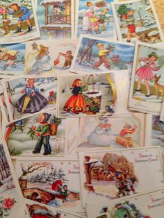 Vintage French New Year Christmas cards at U45 Old Flight House