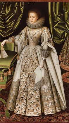 Diana de Vere, nee Cecil, Countess of Oxford, 1614 William Larkin. Diana Cecil's dress is an amazing tour de force of slashing in this portrait by William Larkin.  Married to Henry de Vere, 18th Earl of Oxford, she was the daughter of William Cecil, 2nd Earl of Exeter. Great granddaughter of Elizabeth's Lord Burghley, she became countess of Elgin by her second marriage.  She left no issue.