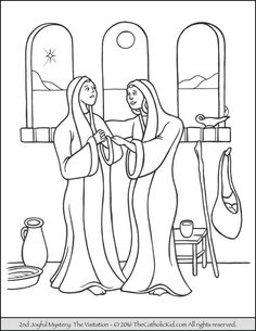the 2nd joyful mystery coloring page visitation - Mystery Pictures Coloring Pages