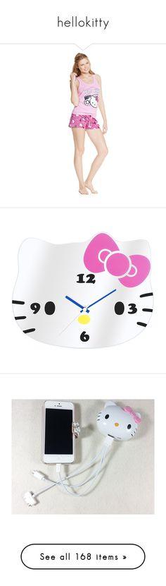 """hellokitty"" by angelesghendo ❤ liked on Polyvore featuring intimates, sleepwear, pajamas, travel pajamas, short sleepwear, hello kitty pajamas, hello kitty pyjamas, hello kitty sleepwear, home and home decor"