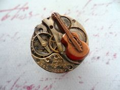 Steampunk Victorian Copper Guitar Ring  (for.someone)