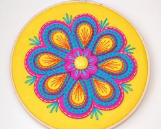 Fiesta Embroidered Wall Hanging by Melissa Davison of SewSweetStitches on etsy.