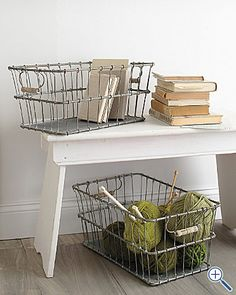 Love the wire baskets for my yarn for my knitting room.