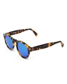 D1AEB Illesteva Leonard Round Mirrored Sunglasses, Tortoise/Blue