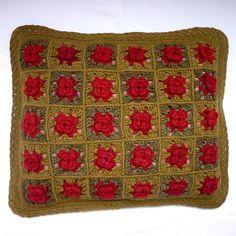 Růžičkový povlak na polštářek (sv. a tm. zelená)