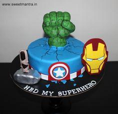 Superheroes Avengers Hulk, Thor, Iron Man, Captain America theme customized designer fondant cake with 3D Hulk hand, Thor hammer, Iron man face for kid's birthday at Pune