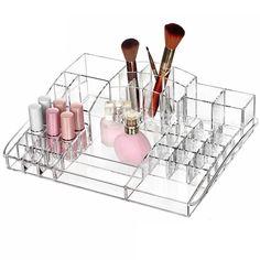 40 Grid Clear Acrylic Lipstick Holder Jewelry Display Storage Makeup Cosmetic Organizer