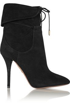 Aquazzura x  Olivia Palermo black suede ankle boots $800, get it here: http://rstyle.me/~2yk6s