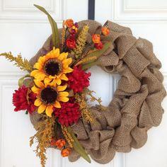 Fall Burlap Wreath Fall Wreath Brown Burlap by KTSeasonalWreaths