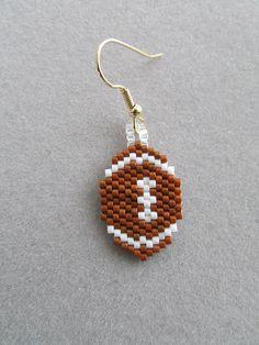 Football Earrings in Delica Beads by DsBeadedCrochetedEtc on Etsy