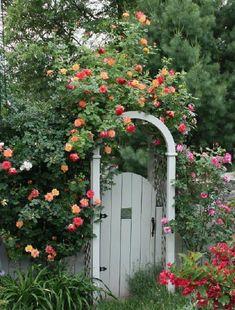 Rose Garden Hand-built gated arbor with ceramic tile and climbing roses - Fine Gardening Gorgeous. Garden Gates And Fencing, Garden Arbor, Garden Paths, Garden Landscaping, Landscaping Ideas, Fence Gate, Garden Entrance, House Entrance, Cottage Garden Design