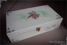 Wedding gift, wooden handmade white box with roses for wine, pic. White Box, Wedding Gifts, Decoupage, Roses, Wine, Handmade, Art, Wedding Day Gifts, Art Background
