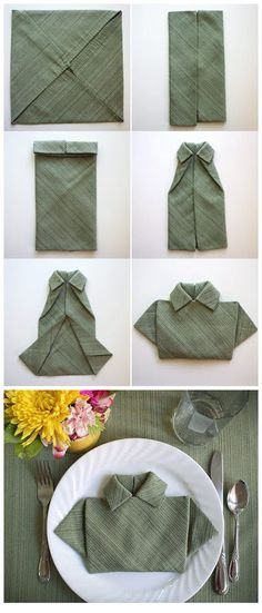4 Surprisingly Simple Ways To Turn Your Napkins into Art 4 Napkin Folding Techniques Cloth Napkins, Paper Napkins, Diy And Crafts, Arts And Crafts, Napkin Folding, Clothing Hacks, Diy Table, Table Napkin, Holidays And Events