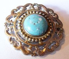Art Nouveau Deco Brooch Pin Turquoise by BrightgemsTreasures, $24.50