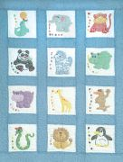 """Stamped White Nursery Quilt Blocks 9""""X9"""" 12/Pkg-Zoo Animals"""