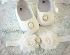 White Satin Baby Girl Soft Sole Shoes,Christening Shoes with Headband Set