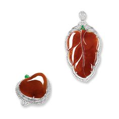 RED JADEITE 'LEAF', JADEITE  AND DIAMOND PENDANT; AND A MATCHING RING