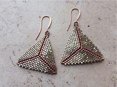 Leopard Skin Satin Peyote Stitch Triangle Earrings