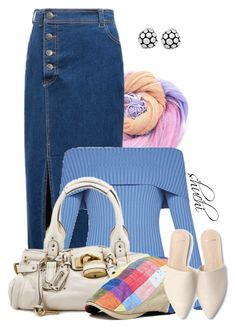Denim and Sorbet by shuchiu on Polyvore featuring BCBGMAXAZRIA, WithChic, John Hardy, linen, offshoulder, scarfstyle and showsomeshoulder