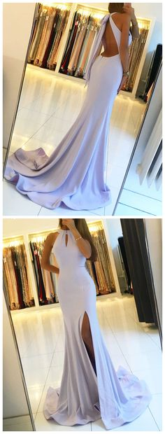 Sexy High Neck Mermaid Long Prom Dress with Split,Lavender Evening Dress,Backless Party Dress P1229 #promdresses #longpromdress #2018promdresses #fashionpromdresses #charmingpromdresses #2018newstyles #fashions #styles #hiprom #mermaid