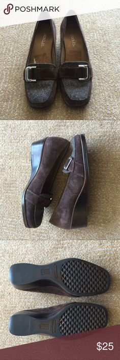 Aerosoles shoes Aerosoles brown suede wedge shoes are in EUC. Shoes are a chocolate suede with a gray fabric over the toe box.  Shoes show minimal wear on the soles.  Shoes are a size 6.5.  Reasonable offers welcome AEROSOLES Shoes Flats & Loafers