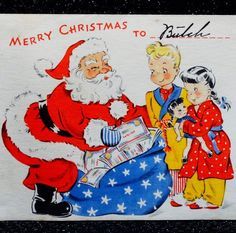 RARE Santa Brings WAR BONDS WW2 1940's Patriotic VINTAGE Christmas GREETING CARD