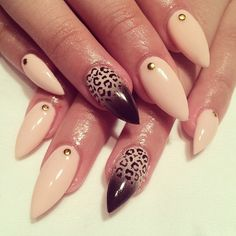 15 stiletto nail art ideas you wont miss french nails stiletto leopard prinsesfo Choice Image