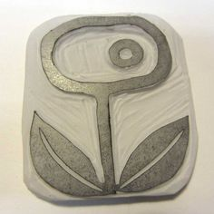 Hand carved abstract flower stamp by robruhn on Etsy, $15.00