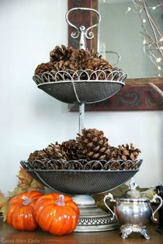 s 10 easy breezy ways to bring fall into every room, home decor, seasonal holiday decor, Display Pine Cones on Your Dresser
