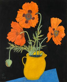 Tsuguharu Foujita (1886 - 1968)  Poppies in a Yellow Jug, 1917  Gouache, watercolour and brush and black ink on paper