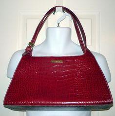 LIZ CLAIBORNE Faux Leather Red Alligator Purse Handbag Shoulder Bag #LizClaiborne #ShoulderBag