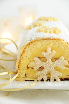 Yellow cake with snowflakes