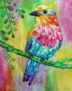 Mixed Media Collage by Lisa Morales- Lilac Breasted Roller - www.lisamoralesmixedmedia.com