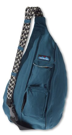 KAVU Rope Bag-Everglade-100% Cotton Canvas.  The KAVU Rope Bag is by far the most popular bag in our line.  People ages 5-95 love the design and practicality of our Rope Bag.  Adjustable shoulder strap, two vertical zip compartments, two zip/key pockets, padded back with KAVU embroidery and ergonomic design to fit the body like a bag should.  Dimensions:  20