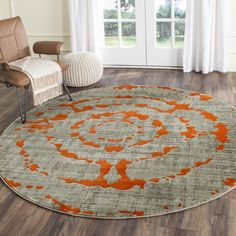 Safavieh Porcello Light Grey/ Orange Rug (Polypropylene ($141) ❤ liked on Polyvore featuring home, rugs, grey, light gray area rug, orange area rug, geometric rug, light grey area rug and olefin rugs