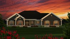 Floor Plan AFLFPW77257 - 1 Story Home Design with 3 BRs and 2 Baths