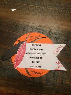 Basketball locker decoration. Using Cricut Sports Mania basketball, SU Big Shot feather die & banner die.