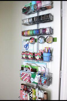 IHeart Organizing: UHeart Organizing: Wrap It Up! Gift wrapping station on inside of closet door. Craft Room Storage, Craft Organization, Ribbon Organization, Closet Organization, Pen Storage, Ribbon Storage, Craft Rooms, Organizing Ideas, Kitchen Storage