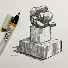 """""""Geometric Clay Model"""". Rapidograph ink drawing. Part of an ongoing experiment to develop a simple set of """"Cast Drawing"""" model exercises for beginners to easily build and learn how to draw at home. More advanced art schools and art academies require their entering students to draw from the cast or copy lithographic plates. Some drawing assignments in the best schools, are tedious, extremely time consuming, and ironically, the fastest way to master drawing.  Click through to keep reading!"""