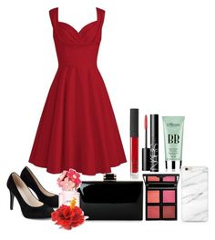 """Formal Red"" by mrs-thornton19 ❤ liked on Polyvore featuring NARS Cosmetics, Forever 21, skinChemists and Marc Jacobs"
