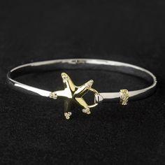 Silver & Gold Clear CZ Crystal Beach Starfish Bangle Bracelet 9257