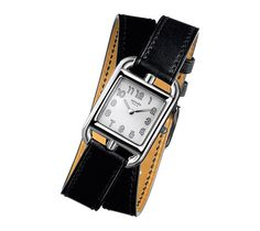 Cape Cod: PM Watch, Swiss-made, quartz movement, stainless steel case with silvered dial (23mm x 23mm), black barenia calfskin double tour leather strap