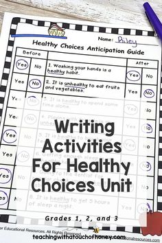 Looking for ways to integrate writing into your unit on making healthy choices? Students can write mini books, keep a journal, use hot seat questions, extend the anticipation guide, and complete exit cards. Writing Lesson Plans, Writing Lessons, Kids Writing, Writing Activities, Writing Ideas, Learning Styles, Fun Learning, Wellness Activities, Report Writing