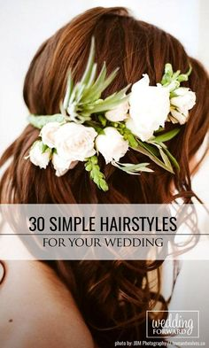 30 Beautiful And Simple Wedding Hairstyles ❤️ Simple wedding hairstyles with different accessorizes, halos and flowers will help to make bride's look more romantic and elegant. See more: http://www.weddingforward.com/simple-wedding-hairstyles/ #wedding #hairstyles