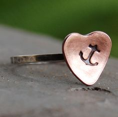 @Andi Casa this reminded me of you and Ryan <3 You Are My Anchor My Heart Sterling Silver Ring by lovestrucksoul, $16.00